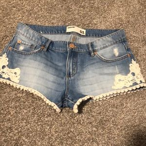 Garage jean with lace detail shorts